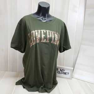 Victoria's Secret PINK Bling Tee Green L ~ ER8